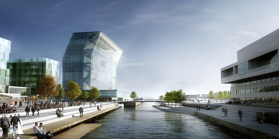 Bjørvika Bay area cluster with the Munch Museum and Stenersen Collections, Oslo, Norway, Architects: Herreros Arquitectos