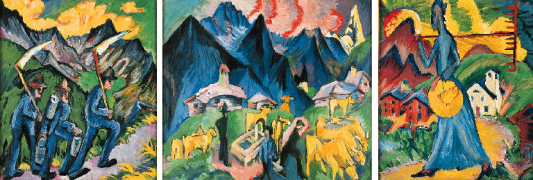 Ernst Ludwig Kirchner, Life in the Alps, Triptych, 1918